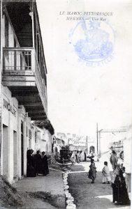 Maroc, carte postale 1914, Meknès - une rue